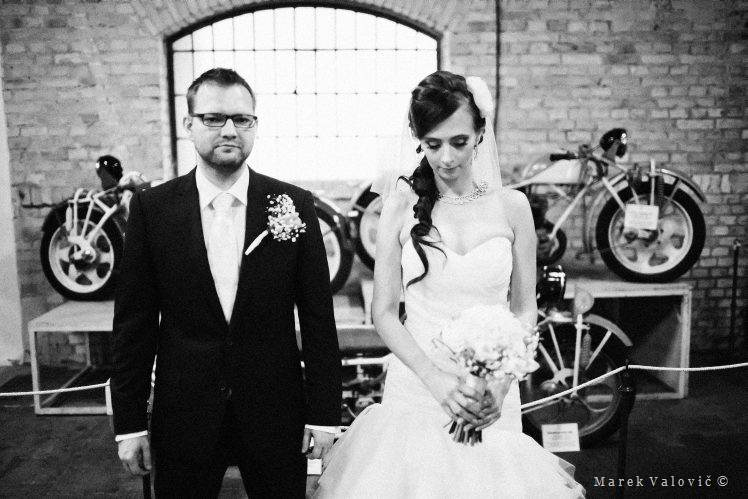black & white wedding photography bride groom old bikes