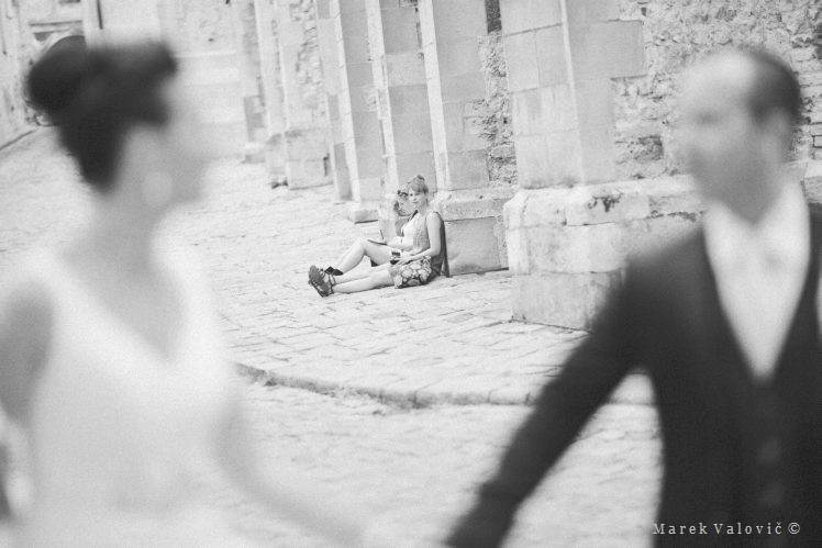 black & white wedding photography street moment