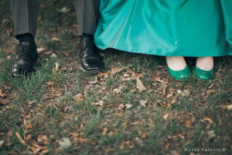 bride and groom shoes - black and green color