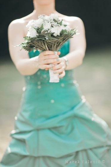 bouquet detail - green wedding dress