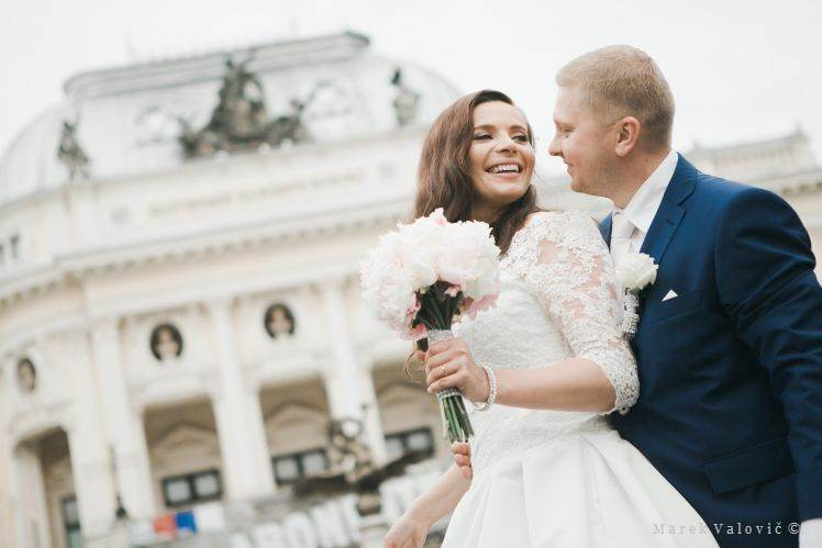 bride and groom in Bratislava Old Town - National Teather