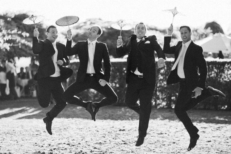 jumping groom best man - funny wedding idea
