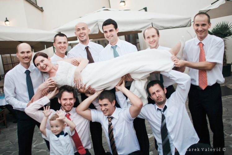 wedding traditions - bride and men - funny wedding idea