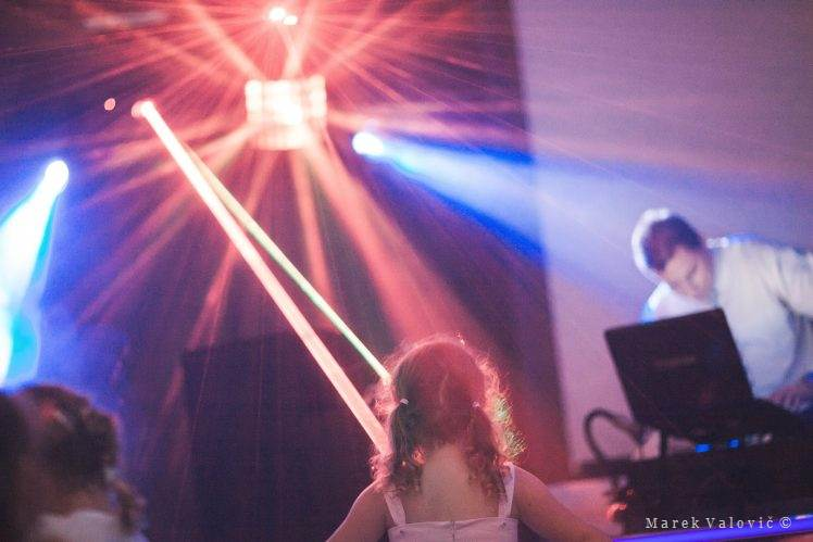 wedding DJ with lighting in action